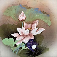 chinese brush painting scrolls lotus