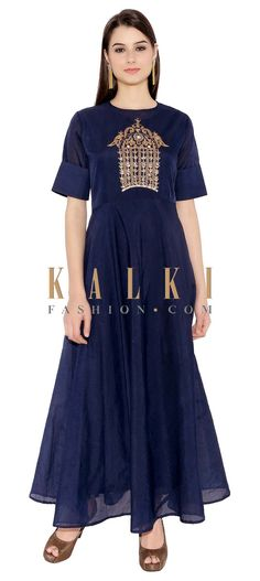 Navy Blue Cotton Kurti With Gown Style Kurti With Elegant Zari Embroidery Below Neck Only On Kalki