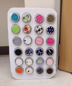 This sensory board was made by an infant teacher at the Superior Children's Center in Tyler, TX.  The different materials, textures and colors make it fun to look at and feel. This board is so versatile, it often moves from classroom to classroom giving many children a chance to touch and feel!