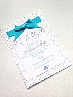 Baby Elephant - Baby Boy Blue Baby Shower Invitations