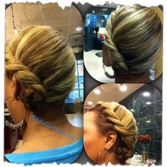 Quick and easy side twist braid for rainy days, or jazz it up and it could work wonders as wedding or special occasion hair. Brush hair over to desired side and smooth down flyaway's with your fave product, I used Bumble and Bumble Brilliantine. Next, grab hair at top as you would for a French braid-only taking two strands instead of three and twist back. As you work your way down continue to grab more hair until complete then twist the remainder at the ends into a bun or knot and pin.