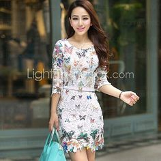 Butterfly Print Cut Out Lace Dress