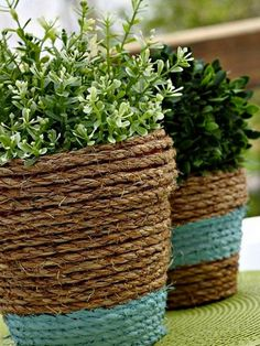 rope wrapped amp painted pots, diy home crafts, gardening, Need some texture and color for your outdoor table Try these easy rope wrapped and painted terra cotta pots Outdoor Projects, Garden Projects, Outdoor Decor, Diy Projects, Outdoor Living, Nautical Decor Outdoor, Nautical Landscaping, Outdoor Crafts, Backyard Projects