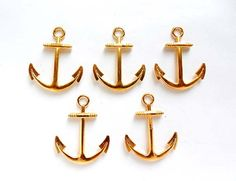 5 Gold Anchor Charms by TreeChild1 on Etsy