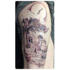 Classic Children's Literature Thigh Tattoo-- kids book illustration tattoo