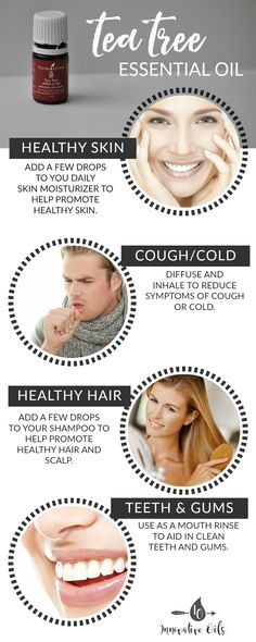 BENEFITS AND USES FOR TEA TREE ESSENTIAL OIL #healthyskin #cough #cold #healthyhair #oralcare