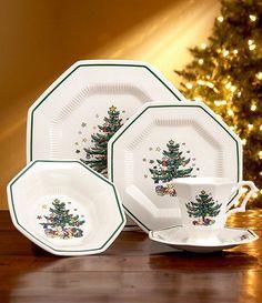 American Atelier Christmas Twig 20 Piece Dinnerware Set, Cream ...