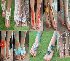 Boho Barefoot Sandals Crochet Anklet tie up Ribbon. These are super cute!