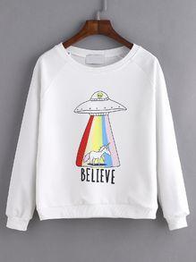 Sweat-shirt imprimé UFO manche raglan - blanc