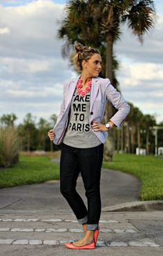 """Take Me to Paris"" Tee   Seersucker Blazer   Rosette 7 Flower Necklace Giveaway"
