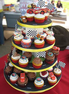 I love the race track road on the cake stand.