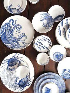 Caskata sea life designs in our signature blue – bring on t… Crab boil? Caskata sea life designs in our signature blue – bring on the beach! Ceramic Plates, Ceramic Pottery, Ceramic Art, Decorative Plates, Wedgwood Pottery, Assiette Design, Porcelain Dinnerware, Blue Dinnerware, Life Design