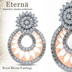 Royal Bloom Earrings - A unique representation of the Ajanta Caves; the Royal Bloom Earrings are a timeless piece made from rose and white gold. Leave your hair in a braid and adorn the Royal Bloom Earrings with a spicy Indo-western look - http://www.caratlane.com/jewellerycollection/eterna/royal-bloom-earrings-je01050-wyp900.html?tryathome=true_source=Pinterest_medium=ODigMa+Pins_campaign=Jewellery_content=JE01050-WYP900