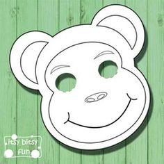 Jungle Animals Printable Masks, monkey mask, zebra, tiger, elephant ...