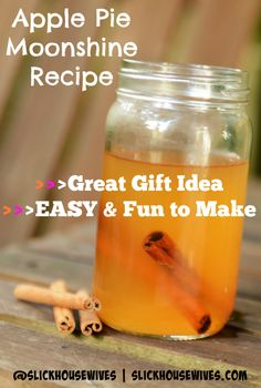 Apple Pie Moonshine Recipe: This is a great gift idea and so delicious. Everytime I make it, it's a HUGE hit. (apple pie cheesecake in a jar) Apple Pie Moonshine, Moonshine Recipe, Easy Cocktails, Cocktail Recipes, Margarita Recipes, Summer Cocktails, Parfait, Pineapple Upside Down Cake, Mixed Drinks