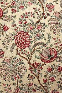 Antique French Block Printed Indienne Fabric Material Lovely Printed c1860 1880 | eBay