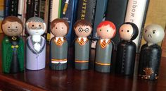 Harry Potter Peg Doll Set **Made to Order** Wood Peg Dolls, Clothespin Dolls, Wood Toys, Harry Potter Dolls, Harry Potter Props, Biscuit, Wooden Pegs, Little Doll, Egg Decorating