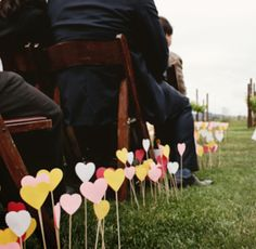 Paper Hearts along the aisle. #diy
