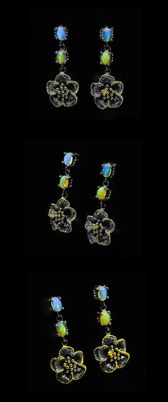 Birthday jewelry mom, Opal earrings, October birthstone Botanical jewelry, statement gift women, opal for her, personalized gifts women  Gemstone Dangle Earrings are a perfect part for your everyday outfit or a very special occasion! The style is after vintage designs and features an amazing detailed flower with genuine opal gemstones in blue and fire colors to add some sparkle and charm!