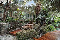 Tropical home entrance - Key Biscayne, FL