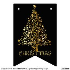 Elegant Gold Black Merry Christmas Tree Party Bunting Flags