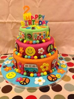 Hippy,flower power, peace birthday cake