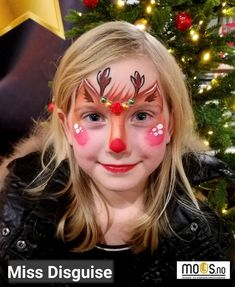 Miss Disguise raindeer Rudolph facepaint christmas ansiktsmaling Rudolf God Jul