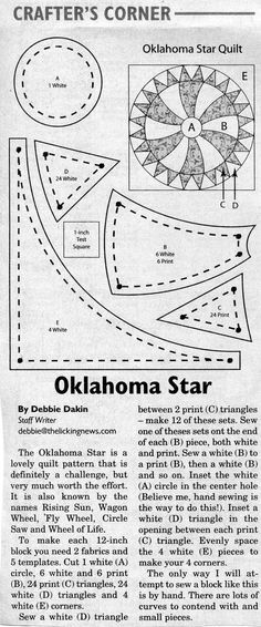 Quilt Block Pattern ~ Oklahoma Star