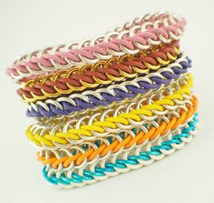 SALE Premium Half Persian 3-1 Stretch Chainmaille Bracelet Kit - Rubber and Aluminum