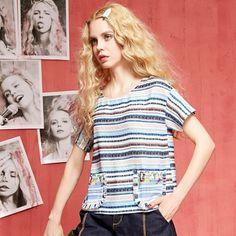 Elf Sack summer female retro loose shirt printing hedging chiffon short-sleeved striped female shirt  elfsack