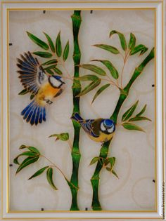 Картины цветов ручной работы. Ярмарка Мастеров - ручная работа. Купить витраж (роспись) Синички на бамбуке. Handmade. Витраж, стекло