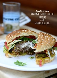 gorgonzola blue cheese burgers with sauteed onions and adobo sauce