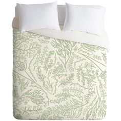 DENY Designs Monika Strigel Herbs And Ferns Green And White Duvet... ($159) ❤ liked on Polyvore featuring home, bed & bath, bedding, duvet covers, mint and white bedding, polyester bedding, deny designs, lightweight bedding and green and white bedding