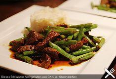 Rindfleisch mit grünen Bohnen, scharf