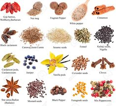 Collection set of heap spices with names close up isolated on white background Stock Photo - 23259968 Names Of Spices, List Of Spices, Spices And Herbs, Homemade Spices, Masala Recipe, Food Names, Banner Printing, Spice Blends, Learn English