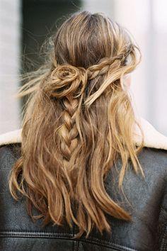 braid + rosette half up style