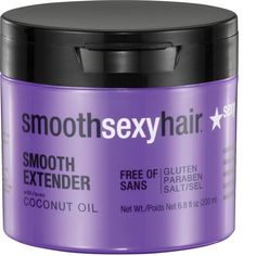 Gaining control of frizzy, dry or damaged hair is easier with Smooth Sexy Hair's coconut oil hair masque. Its deeply penetrating formula is safe for all hair types, including coarse, curly, and chemic