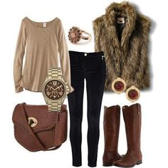 Agreat combo of neutrals and texture with the fur vest. Perfect weekend outfit