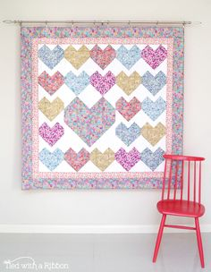 Love Letters Quilt, pattern by Tied with a Ribbon, fabrics are Alice Caroline Liberty collection,  Heart Quilt, Love Quilt