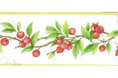 Red Berries Plant Wallpaper Border