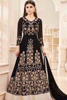 Shop this amazing Mouni Roy black floor length anarkali salwar suit for festival, party and wedding. Anarkali Dress, Anarkali Suits, Lehenga, Long Anarkali, Simple Anarkali, Black Anarkali, Abaya Fashion, Indian Fashion, Women's Fashion