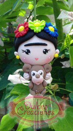 Frida Kahlo,Boligrafo Decorado, Pasta Flexible,Porcelana fría.