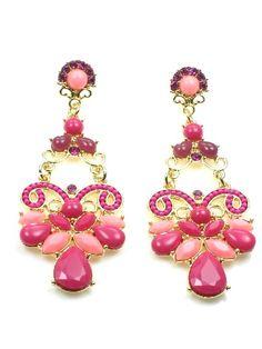 Goudkleurige oorbellen met roze strass en inkleuring - www.deoorbel.nl