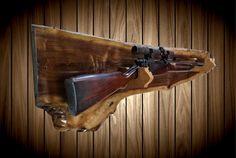 Rifles, Knife Display Case, Rifle Rack, Easy Wood Projects, Man Cave Home Bar, Live Edge Wood, Wood Wall Decor, Rustic Walls, Shotgun