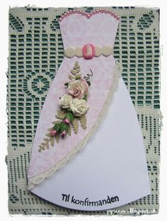 Victorian Design, Scrapbook Cards, Scrapbooking, Pink Dress, Wedding Cards, Card Making, Sewing, Crafts, Andreas