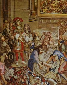"""Louis XIV visits the Gobelins with Colbert, 15 October 1667. Tapestry from the series, """"Histoire du roi"""" designed by Charles Le Brun and woven between 1667 and 1672.    http://en.wikipedia.org/wiki/Gobelins_Manufactory"""