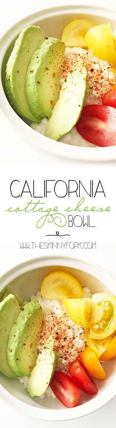 California Cottage Cheese Bowl! Avocado. Tomato. Cottage cheese. Done. Yum! This has to be one of my all time favorite light lunches. TheSkinnyFork.com | Skinny & Healthy Recipes