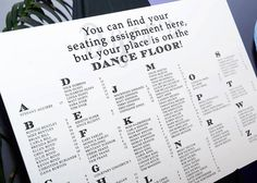 Modern Wedding Seating Chart Board Poster DIY.  You can find your seating assignment here, but your place is on the DANCE FLOOR! #brandingchick