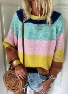 FloryDay / New Year Sale Color Block Casual Round Neckline Long Sleeve Blouses Winter Fashion Casual, Autumn Fashion, Winter Style, Fall Winter, Women's Fashion, Fashion Online, Fashion Trends, Multi Coloured Jumpers, Blouse Styles