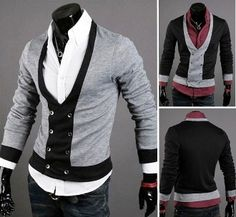 Men's 2-Tone Slim-Fitting Double Breasted Cardigan on sale! Buy now for $37.95 (reg 49.95)